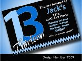 13th Birthday Party Invitations for Boys Personalised Boys Girls Teenager 13th Birthday Party