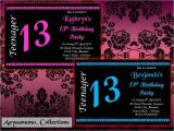 13th Girl Birthday Party Invitations 10 X Personalised Teenager 13th Boys Girls Birthday