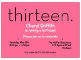 13th Girl Birthday Party Invitations Thirteen Pink 13th Birthday Invitations Paperstyle