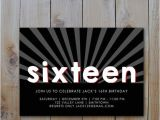 16th Birthday Party Invitations for Boys 16th Birthday Invitation Black White Red by