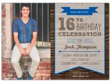 16th Birthday Party Invitations for Boys Woodsy Banner Boys 16th Birthday Invitations Paperstyle
