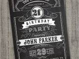 18th Birthday Invitations Male Vintage Retro Birthday Invitation Printable Chalkboard
