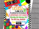 1980s Birthday Party Invitations 1980s Awesome Eighties themed Birthday Party Invitations X