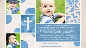 1st Birthday and Baptism Combined Invitations Chic Baptism or Christening Invitation Baby S S Cross