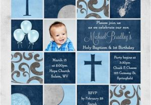 1st Birthday and Baptism Combined Invitations Colorful Baptism Invitation event Colors Wording