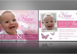 1st Birthday and Baptism Combined Invitations Creative Christening Invite Designs & Thank You Cards for