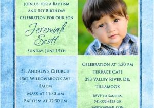 1st Birthday and Baptism Combined Invitations Personalized Catholic Christening Invitation Boy