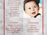 1st Birthday and Baptism Combined Invitations Square Baptism Invitations Christenings 1st Birthday