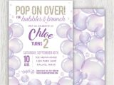 1st Birthday Brunch Invitations Printable Bubbles Birthday Invitation Bubbles and Brunch