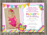 1st Birthday butterfly Invitation Wording Printable butterfly Birthday Invitation Girl First