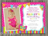 1st Birthday butterfly Invitation Wording Printable butterfly Birthday Invitation