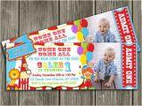 1st Birthday Carnival Invitations Printable Circus Ticket Birthday Photo Invitation