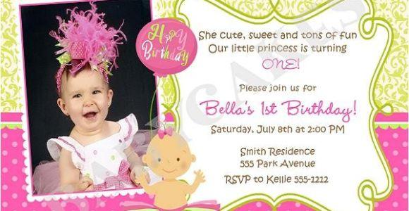 1st Birthday Invitation Example First Birthday Invitation Wording and 1st Birthday