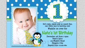 1st Birthday Invitation Ideas for A Boy Penguin Birthday Invitation Penguin 1st Birthday Party Invites