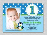 1st Birthday Invitation Photo Frames Penguin Birthday Invitation Penguin 1st Birthday Party Invites