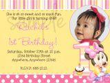 1st Birthday Invitation Sample Minnie Mouse 1st Birthday Invitation