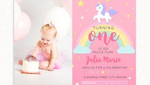 1st Birthday Invitation Template Unicorn Unicorn First Birthday Invitation Template with Photo