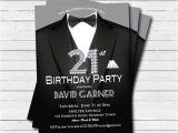 21st Birthday Invitations Male 21st Birthday Invitation Man Black Tie and Suit Diamond