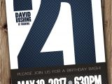 21st Birthday Invitations Male 21st Birthday Party Invitation for Man Male Blue Silver