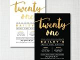 21st Birthday Invitations Templates Modern Gold Foil 21st Birthday Printable Digital