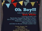 2nd Baby Boy Shower Invitations Items Similar to Banner Bunting Baby Shower Invitation