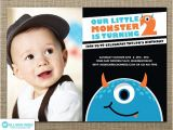 2nd Birthday Invitation for Boy Items Similar to Little Monster Invitation Monster