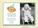 2nd Birthday Invitation Message for Boy Boy S Birthday Monkey Invitation Baby Boy First