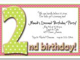 2nd Birthday Invitation Quotes 2nd Birthday Invitation Wording Ideas Bagvania Free