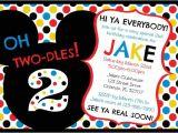 2nd Birthday Invitation Wording Mickey Mouse Mickey Mouse Clubhouse Oh Two Dles 2nd Birthday Invitation