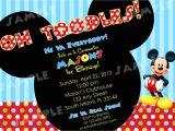 2nd Birthday Invitation Wording Mickey Mouse Printable Mickey Mouse Birthday Invitation 4×6 by