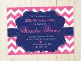 30th Birthday Brunch Invitations Navy and Pink Woman Invitation Brunch Birthday Invitation