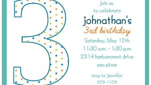 3rd Birthday Invitation Wording Boy 3rd Birthday Boy Dots Invitations