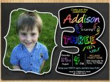 3rd Birthday Invitation Wording Boy 3rd Birthday Invitation Chalkboard Invite Rainbow Colors