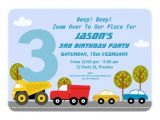 3rd Birthday Invitation Wording Boy Boys Transport 3rd Birthday Party Invitation
