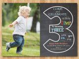 3rd Birthday Invitation Wording Boy Chalkboard 3rd Birthday Invitation with Picture Third