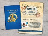 3×5 Graduation Party Invitations Thank You Card Passport Passport Invitation Travel