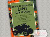 4 Wheeler Birthday Invitations atv 4 Wheeler Birthday Printable 5×7 4×6 or 4×5 5 by