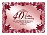 40 Wedding Anniversary Invitations 40th Wedding Anniversary Invitation 11 Cm X 16 Cm