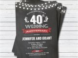 40 Wedding Anniversary Invitations 40th Wedding Anniversary Invitation Red 40th Wedding