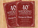 40 Wedding Anniversary Invitations 40th Wedding Anniversary Invitation Ruby Red Wedding
