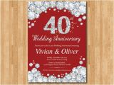 40 Wedding Anniversary Invitations 40th Wedding Anniversary Invitation Ruby Red Wedding