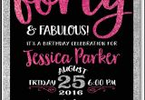 40th Bday Party Invites Pink & Black forty and Fabulous 40th Birthday Invitations