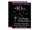 40th Birthday Cocktail Party Invitations 40th Birthday Party Invitation Cocktail Glass Zazzle