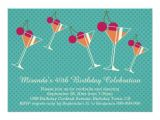 40th Birthday Cocktail Party Invitations Modern Martini Cocktail 40th Birthday Party 5 Quot X 7