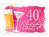 40th Birthday Cocktail Party Invitations orange and Pink Cocktail 40th Birthday Party 5×7 Paper