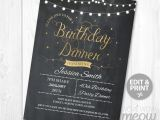 40th Birthday Dinner Invite Wording Birthday Dinner Party Invite Instant Download Any Age 30th