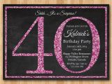 40th Birthday Invitations Female 40th Birthday Invitation for Women Pink Glitter by