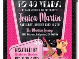 40th Birthday Invitations Female Pin Up Girl Rockabilly 40th Birthday Party Invitations