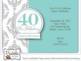 40th Birthday Invitations Free Templates Surprise 40th Birthday Invitation Free Template