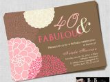 40th Birthday Invitations with Photo 40 and Fabulous 40th Birthday Invitation Pink & Brown